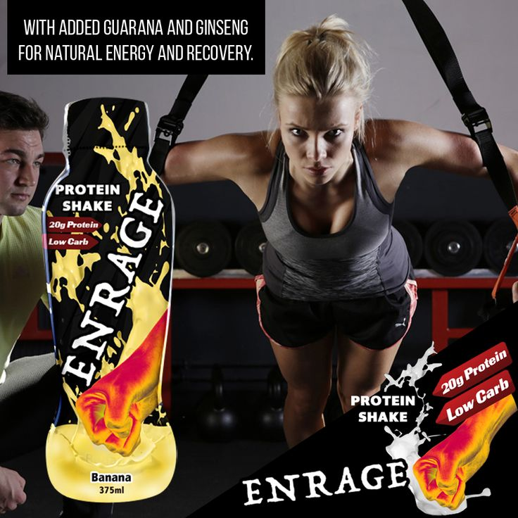 Enrage Protein Shake - With added guarana and ginseng for natural energy and recovery. Available in resealable and recyclable bottles in three deliciously creamy flavours to choose from.  #ProteinShake #Shake #Fitness