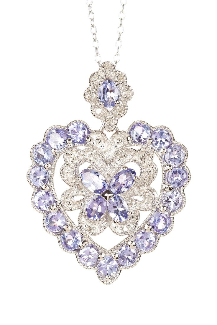 White Diamond & Tanzanite Heart Pendant Necklace