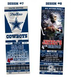 Dallas Cowboys Ticket Birthday Party Invitations - Printable | BLiTzDesignz - Digital Art  on ArtFire