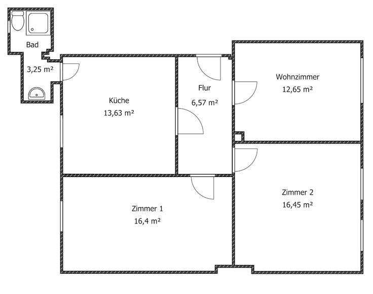 Grundriss der Wohnung, Zimmer 2 ist zu vermieten
