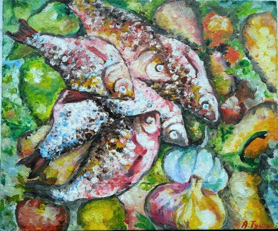 Fishes oil painting Still life Wall art decor by PaintingByAHeart