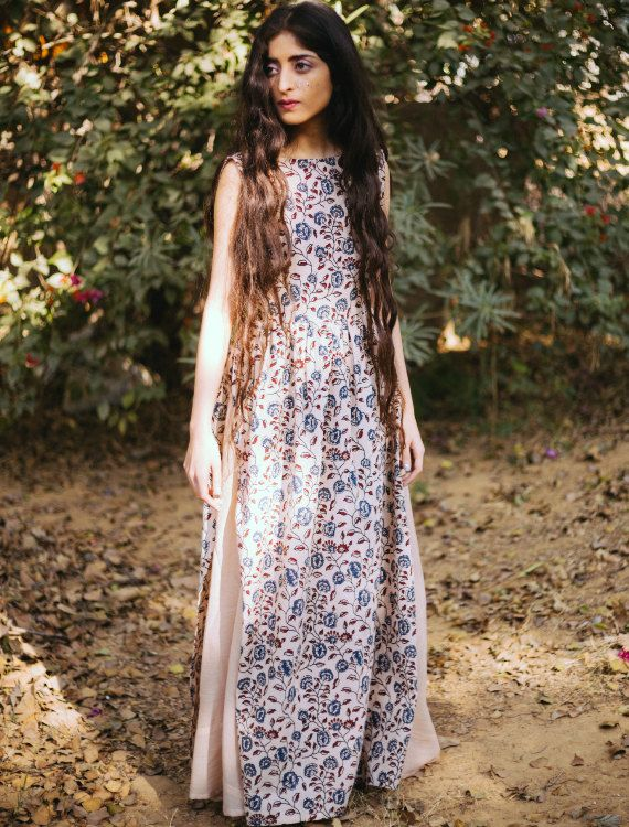 Hand Block Printed Floral Maxi Dress with Mulmul Cotton Flared Skirt | Priced at $80.00
