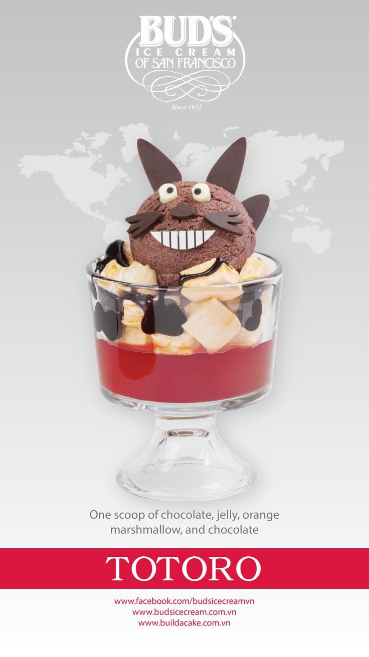 Cutie Sundaes - Totoro: once scoop of Chocolate ice cream, jelly, orange marshmallow and hot fudge