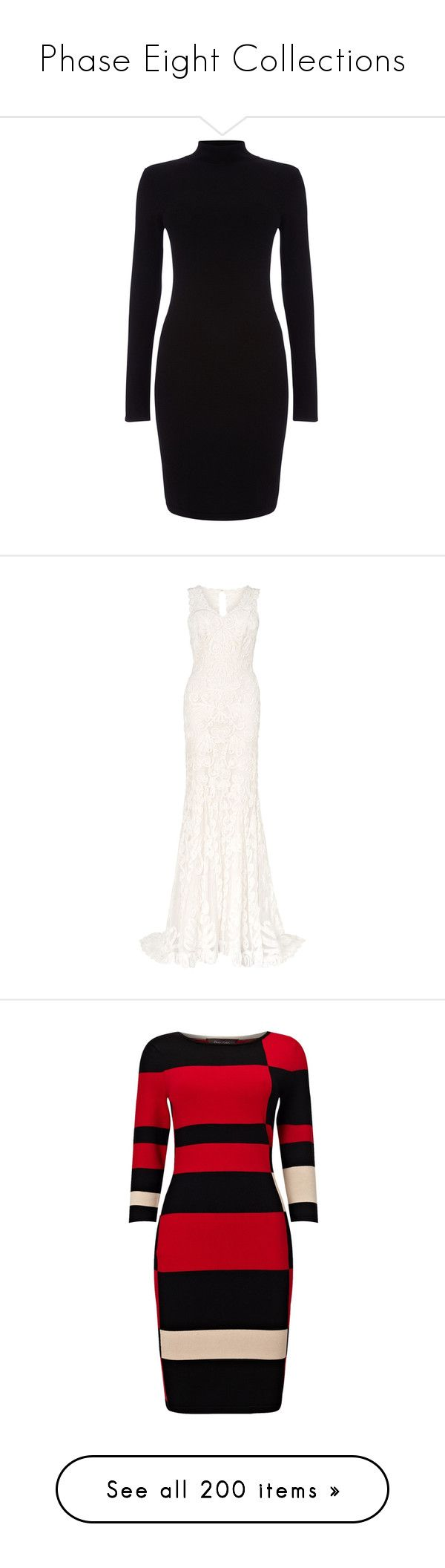 """Phase Eight Collections"" by tiffanyelinor ❤ liked on Polyvore featuring dresses, vestidos, mini dress, long sleeve turtleneck, black floor length dress, black turtleneck, black knee length dress, wedding dresses, wedding and gowns"
