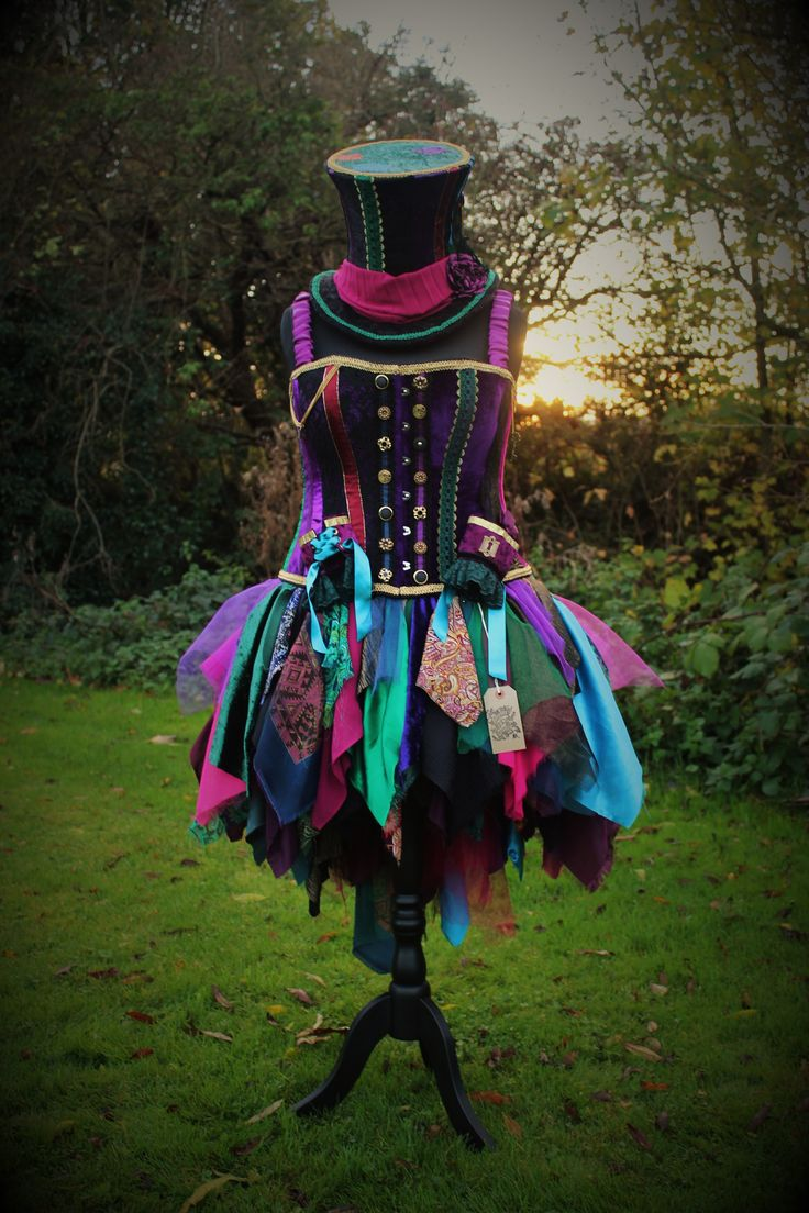 Mad Hatter costume skirt, hat, corset and wrist cuffs