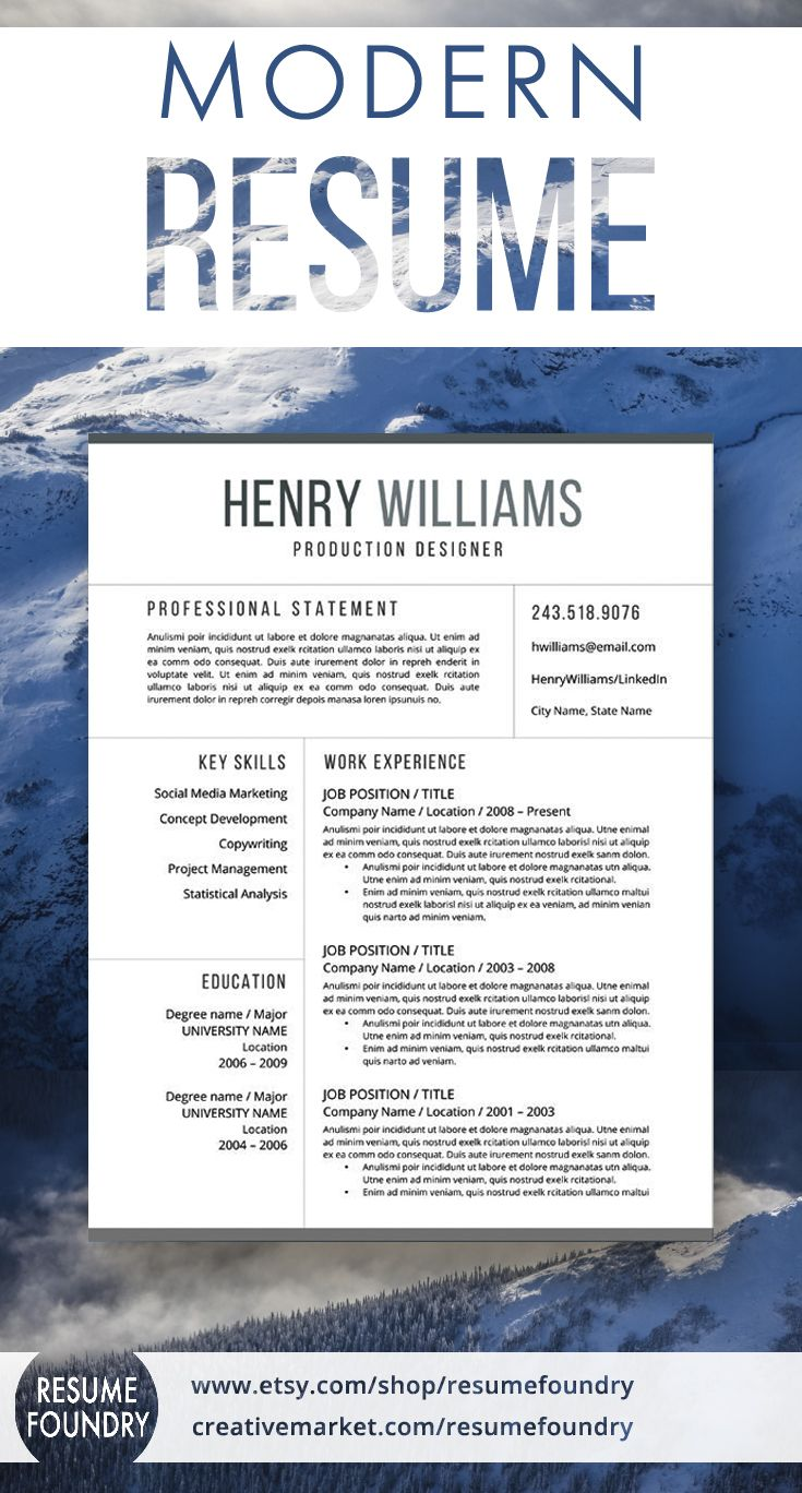 Modern resume template, includes one, two or three pages, cover letter template, reference template. Use with Microsoft Word