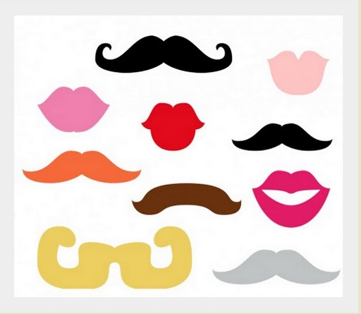 Kids photo booth props moustaches & lips