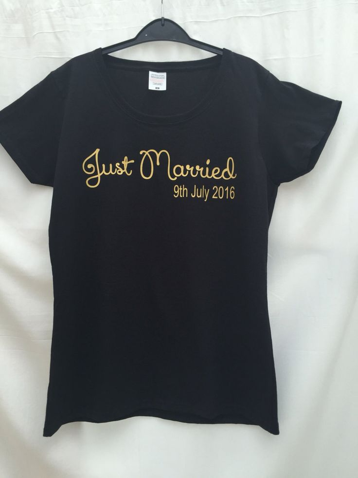 just married tshirt , personalised wedding date tshirt, bride tshirt, on…