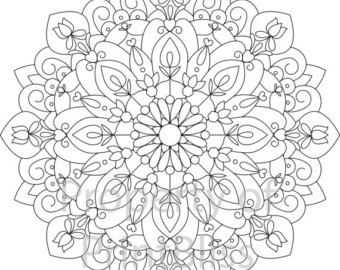 19. Flower Mandala printable coloring page. by PrintBliss on Etsy