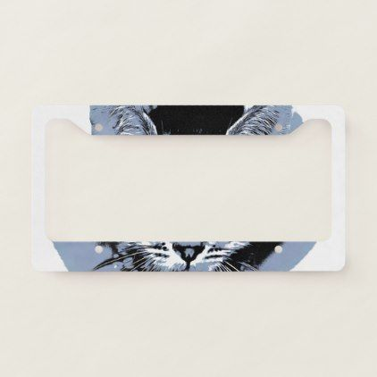 Cute Kitty License Plate Frame - funny comic style comics geek geeks lol fun cyo