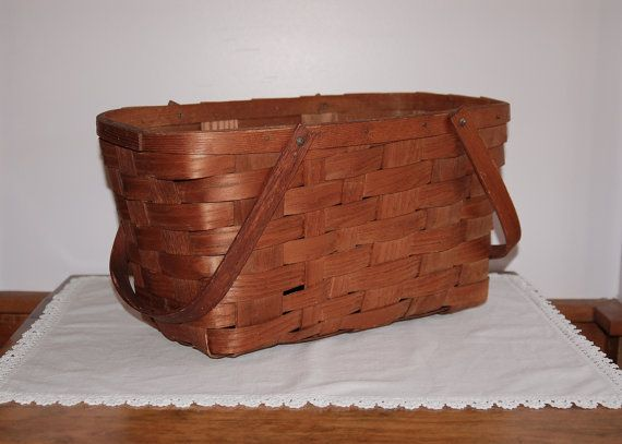 Wood Splint Basket Old Woven Picnic Basket by CobblestonesVintage $57.36