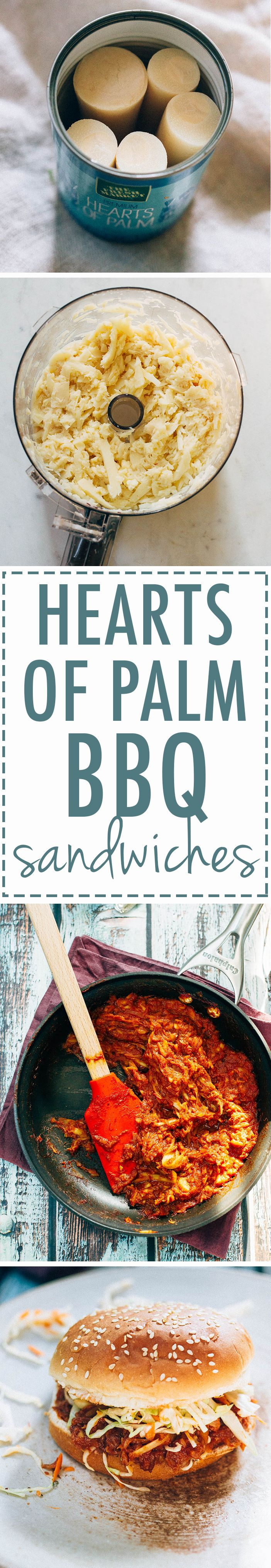 Vegan BBQ Sandwiches made with Hearts of Palm