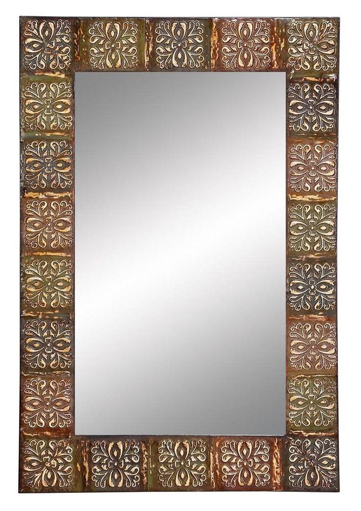 aspire embossed metal frame wall mirror