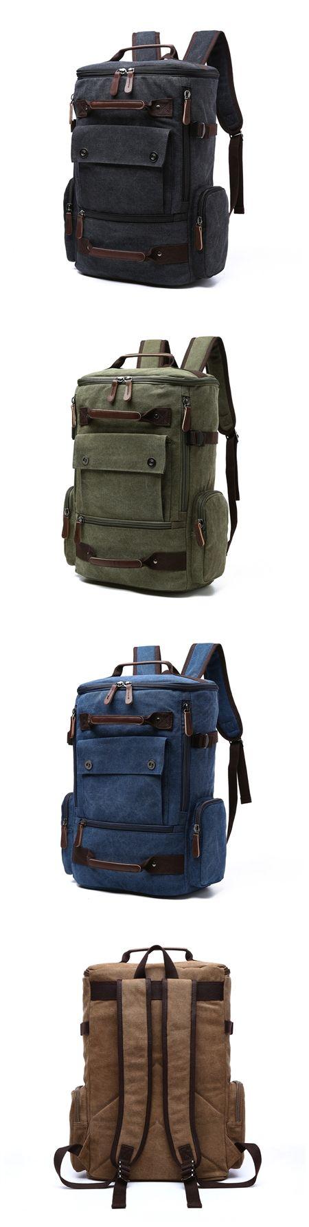 Unisex Canvas Backpack Shoulder Bag Large-capacity Leisure Multi-purpose Travel Shoulder Bag Bagail.com