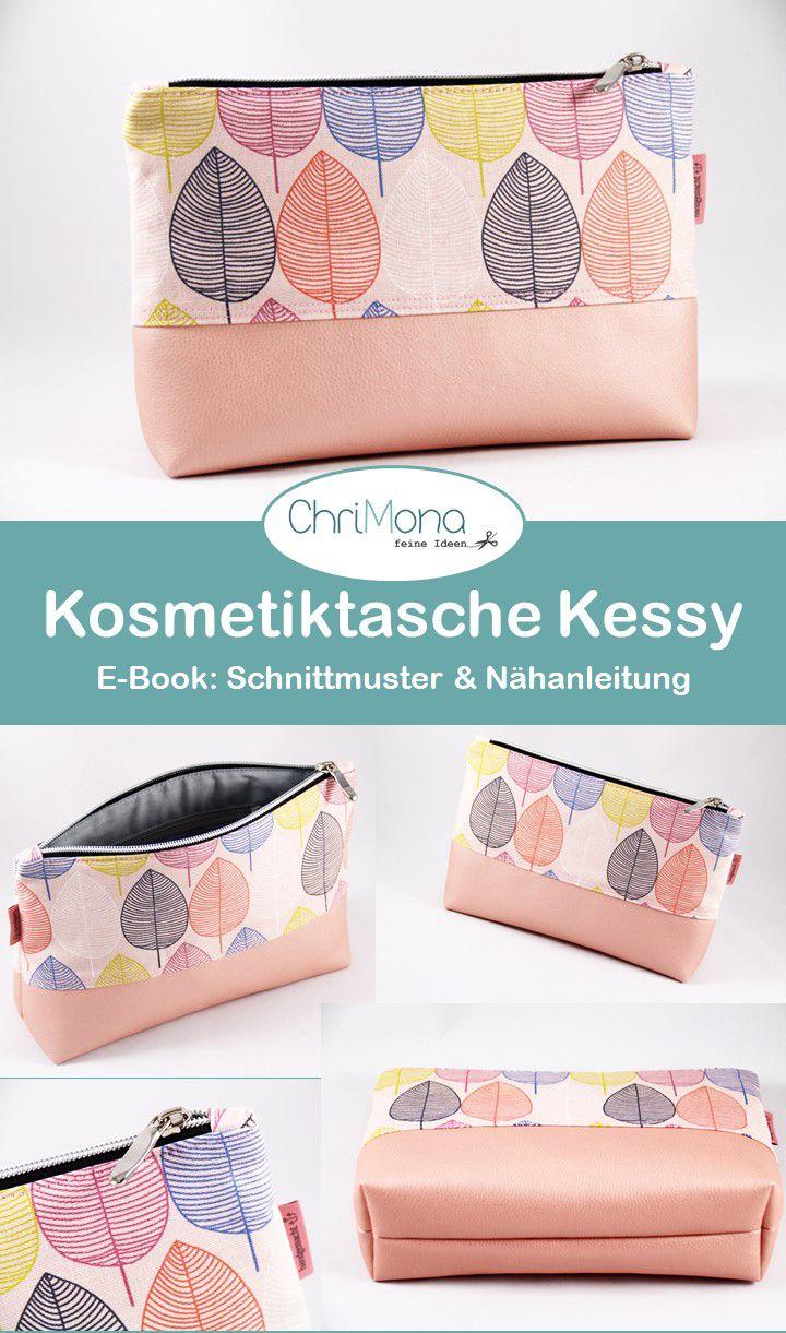 Kosmetiktasche Kessy aus herbstlichen Canvas mit Blättern in zwei Varianten – g…