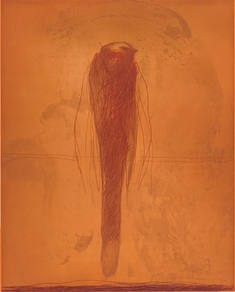 """Nathan Oliveira  Bird,  2007  Color drypoint, sugar lift and spit bite aquatints with hard ground etching  Image Size:  45  x  36  """"  Paper Size:  52  x  41  """"  Edition Size:  35  Publisher:  Crown Point Press  Printer:  Ianne Kjorlie"""