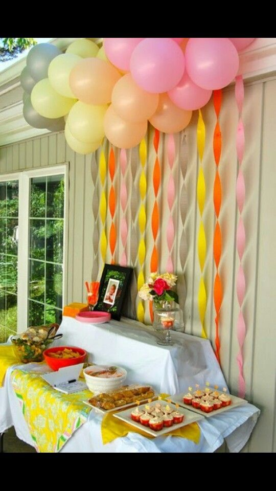 Table set up for gift & guest area. Balloons, paper decor, and table cloth. Use blue, green, turquoise colors.