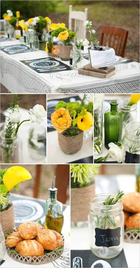 Rustic setting. Cute and fun details for an informal, outdoor activity.