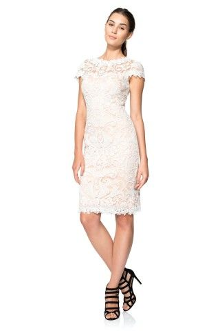 Tadashi Shoji Corded Embroidery on Tulle Cap Sleeve Dress - PETITE