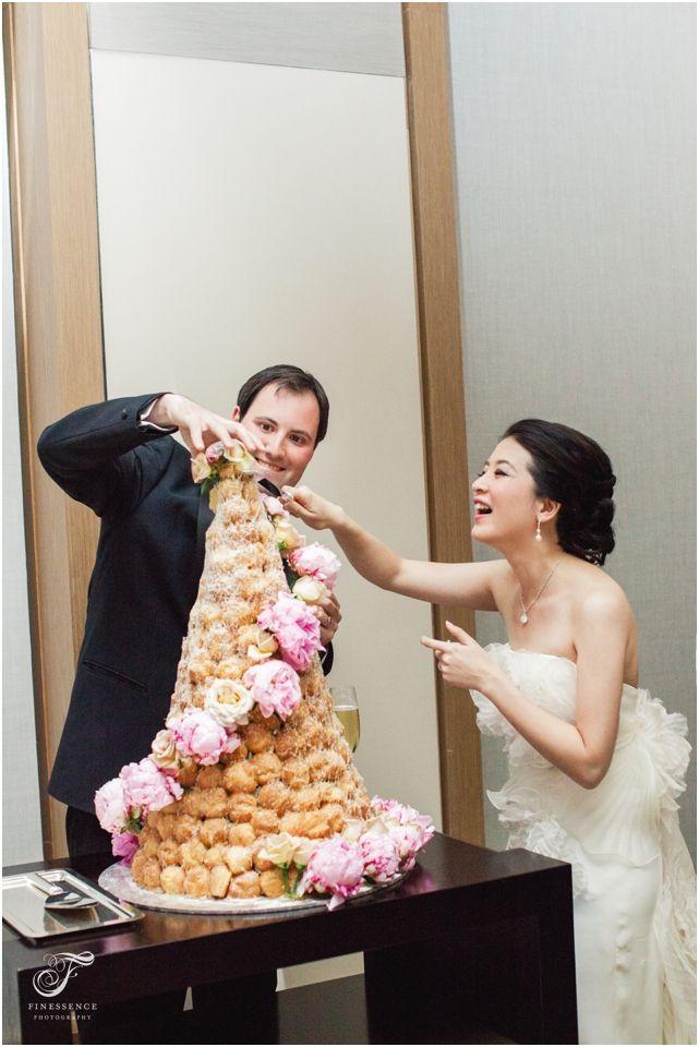 Wedding cake using profiteroles // Wedding photography work by Finessence // www.finessence.com.au