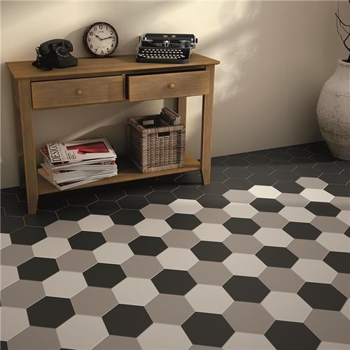 "7""x8"" Hexatile Matte Gris Porcelain Floor/Wall Tile(PK OF 7)"