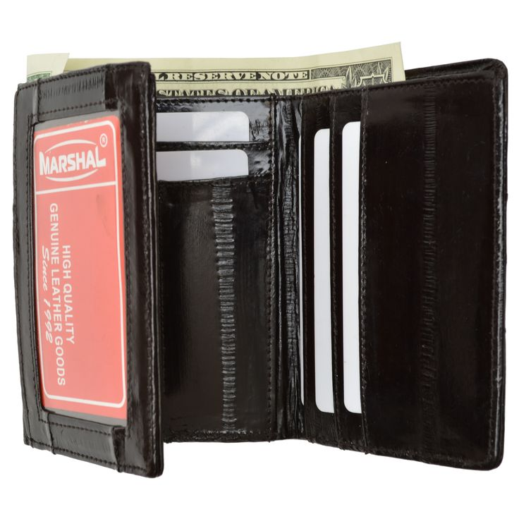 Embossed Eel Trifold ID Style Credit Card Holder Wallet ID outside