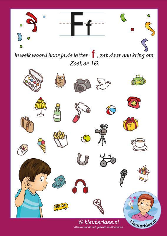 Pakket over de letter f blad 8, in welk woord hoor je een f, letters aanbieden aan kleuters, kleuteridee, free printable.