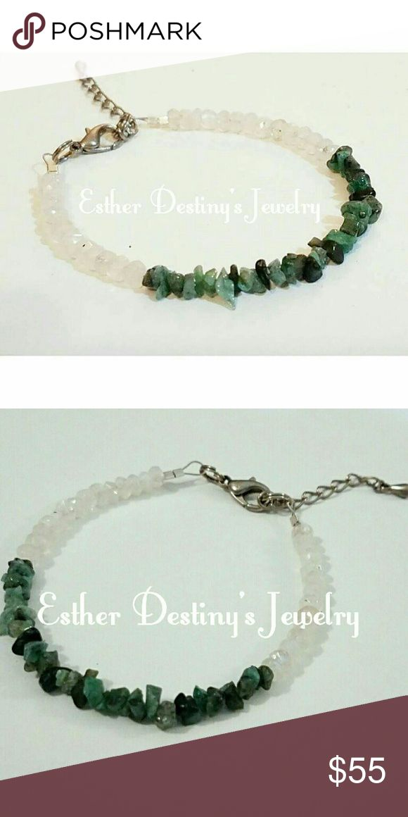 """Emerald and Rainbow Moonstone Bracelet Bangle Raw Emerald Chips that shimmer with beauty combined with Rainbow Moonstone that shine with a prism flask, this  Bangle will light up your wrist.  The Bracelet Clasp is Sterling Silver.  Perfect for a formal event or just jeans and a t-shirt, this Bracelet can dress up or down.  The Bracelet is 7 1/2"""".  All purchases come gift wrapped. Contact me if you would like your purchase sent to someone as a gift.  Find more from Esther Destiny's Jewelry at…"""