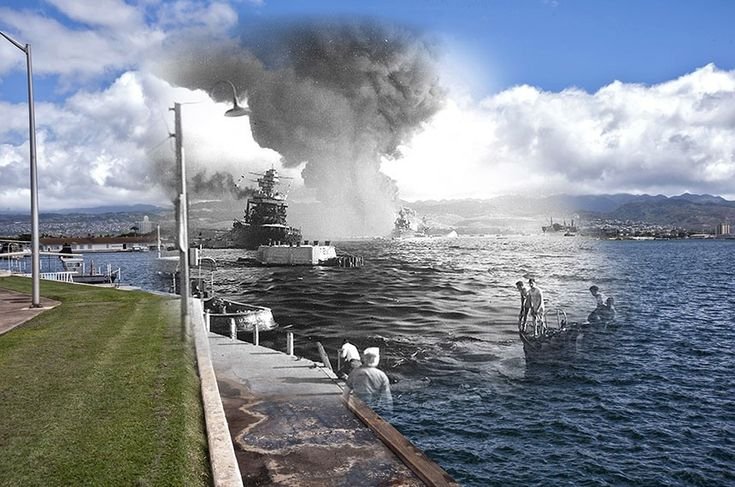 The Navy Created These Incredible 'Then Vs. Now' Photos Comparing Pearl Harbor Today To The Day Of The Attack - http://www.warhistoryonline.com/war-articles/navy-created-incredible-vs-now-photos-comparing-pearl-harbor-today-day-attack.html