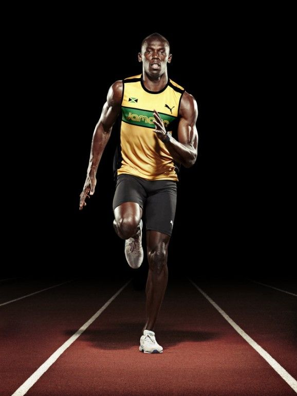"Usain Bolt aka ""Lightning Bolt"", Jamaican sprinter regarded as the fastest person EVER. He is the first man to win 6 Olympic gold medals in sprinting, and a 5-time World champion. He was the first to achieve a ""double double"" by winning 100m and 200m titles at consecutive Olympics (2008 and 2012)."