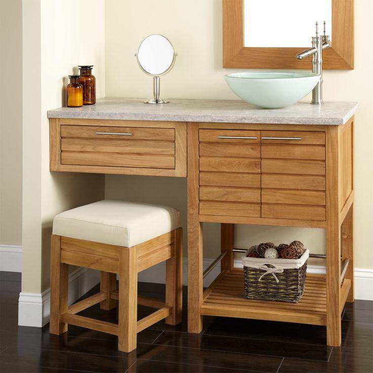 48 salinas teak vessel sink vanity with makeup area on vanity for bathroom id=42023