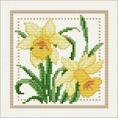 March - Jonquil, Project 2010 - Flower of the Month, designed by Ellen Maurer-Stroh, from EMS Cross Stitch Design.