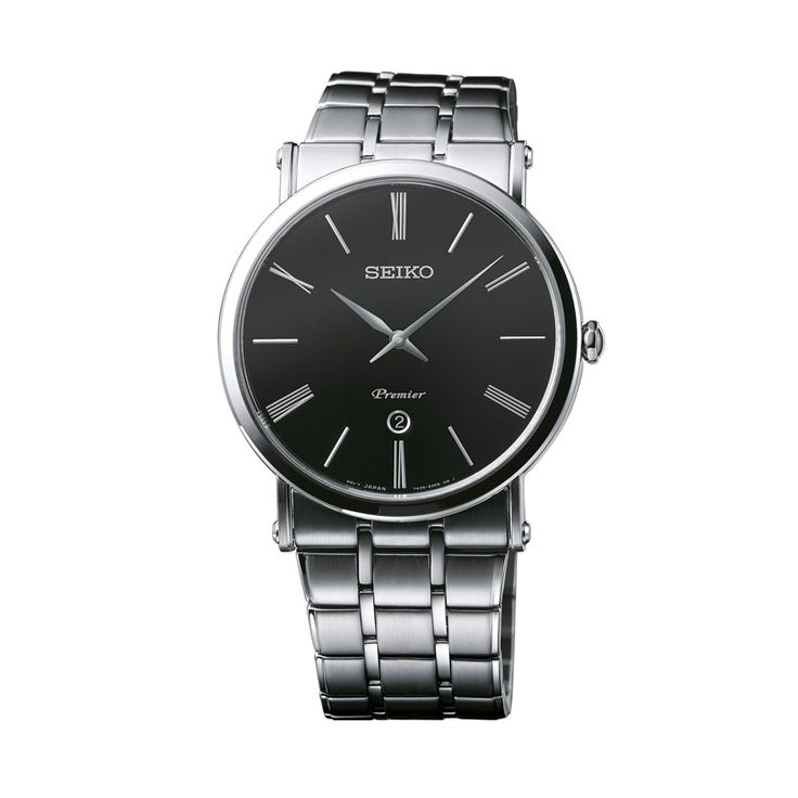 Ανδρικό ρολόι SEIKO SKP393P1 Premier με μαύρο καντράν, ημερομηνία και ανοξείδωτο ατσάλινο μπρασελέ | ΤΣΑΛΔΑΡΗΣ στο Χαλάνδρι #seiko #premier #μαυρο #μπρασελε #tsaldaris