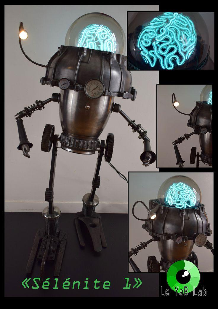 """Sculpture lumineuse upcycling """"sélénite 1"""""""