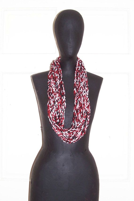 Red White Black Crochet Chain Scarf Multi Color Braided Scarf