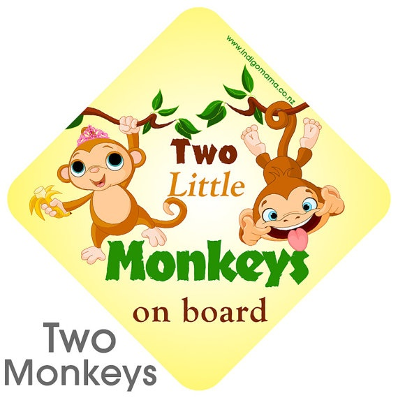 Two little monkeys on Board Car Sign by IndigoMamaDesigns on Etsy, $15.00