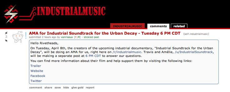 our AMA on Reddit & more interviews via http://www.industrialsoundtrack.com/press/