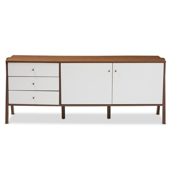 Baxton Studio Harlow Mid-century Modern Scandinavian Style White and Walnut Wood Sideboard Storage Cabinet
