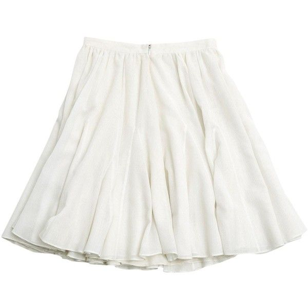 Pre-owned Céline Mid-Length Skirt (770 ILS) ❤ liked on Polyvore featuring skirts, bottoms, white, white skirt, white mid length skirt, celine skirt, mid length skirts and white knee length skirt