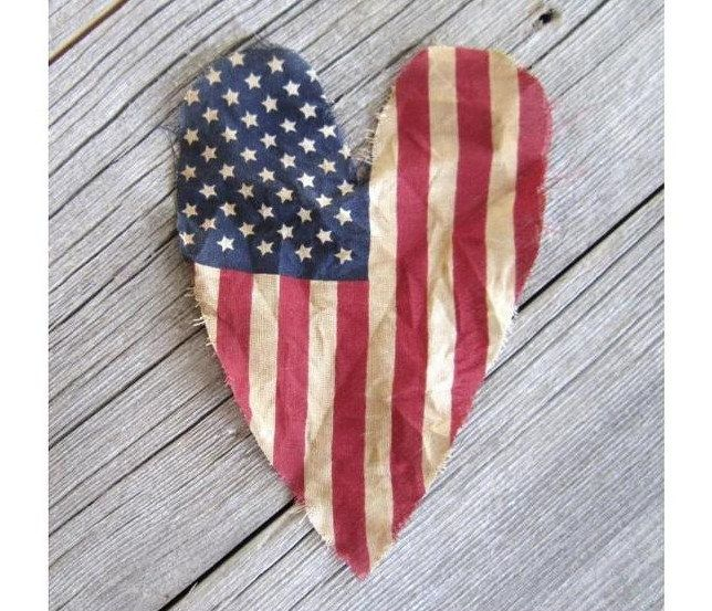 American Flag - Old Glory Heart- old worn fabric flag Wedding decorations 4th of July decor red white  blue USA flag.