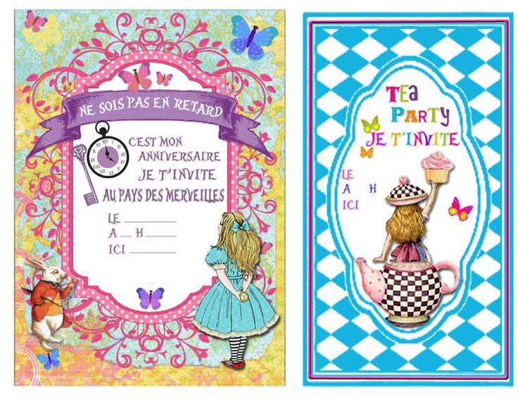 """invitation """"Au pays des merveilles""""  Anniversaire enfant : tout le """"matériel"""" pour une fête réussie. Nombreux autres thèmes sur le site."""