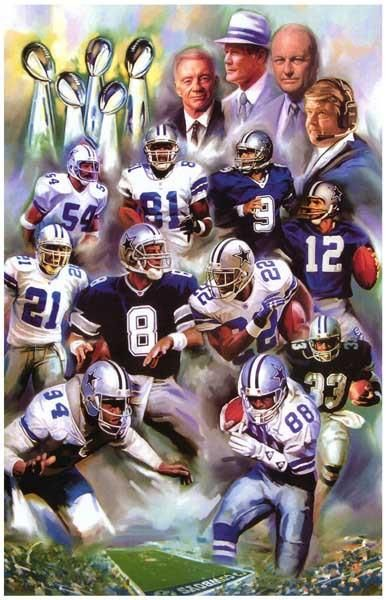 A great art poster of the players and coaches of the Dallas Cowboys NFL football team who helped create a legendary Super Bowl Dynasty! Ships fast. 11x17 inches