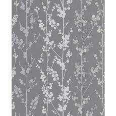 Berries Gray/Silver Wallpaper