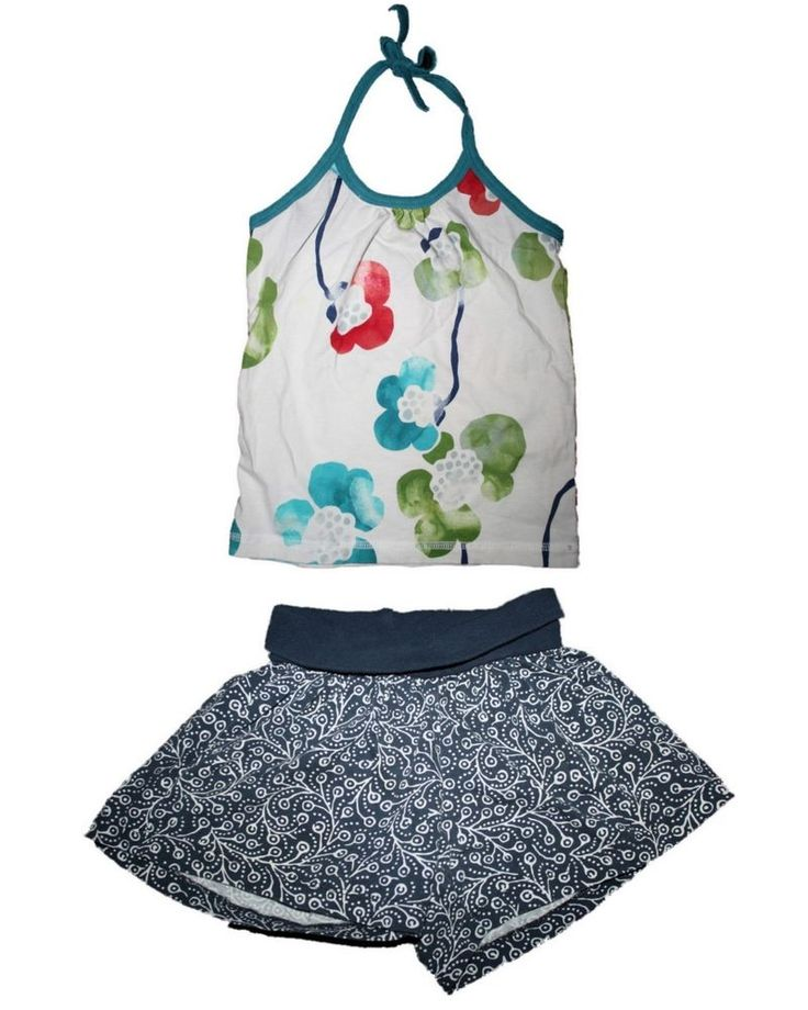 Girl Tea Collection Moon Orchid Halter Top Painted Vine Swing Shorts Set Size 2 #TeaCollection #Everyday