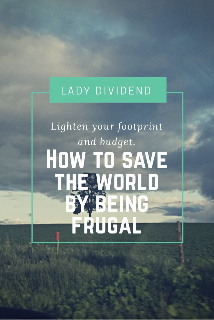 Learn how to save the world by being frugal. Often the two go hand in hand. http://ladydividend.com/save-world-frugal/