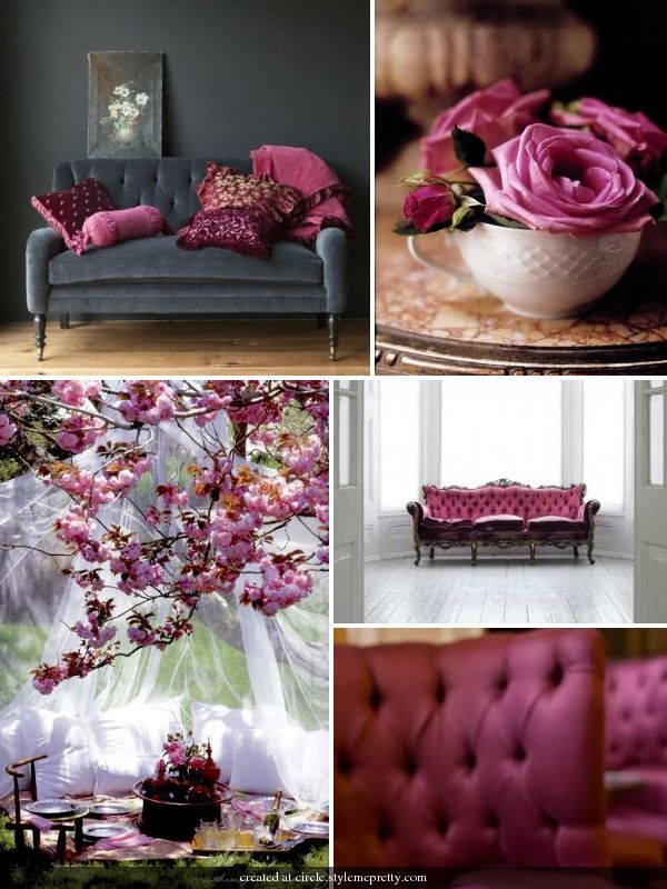 this lovely combination of rich magenta and deep burgundy paired with slate grey and ivory creates