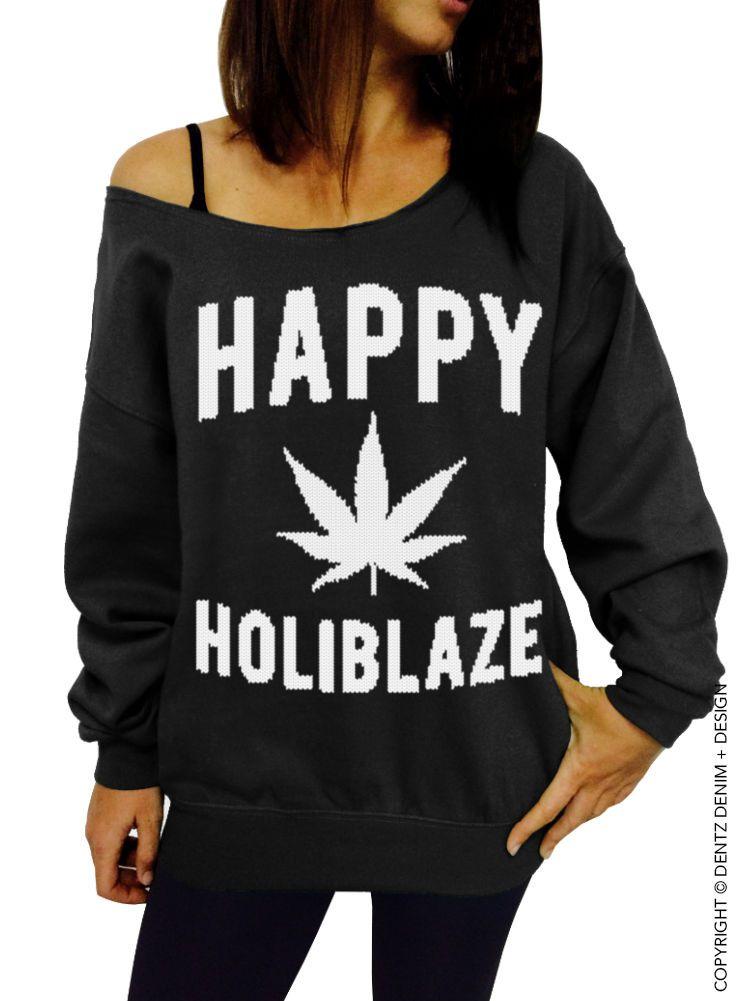 Happy+Holiblaze+-+Black/White+Slouchy+Sweatshirt+-+Christmas+420+Holiday+Sweater+|+eBay