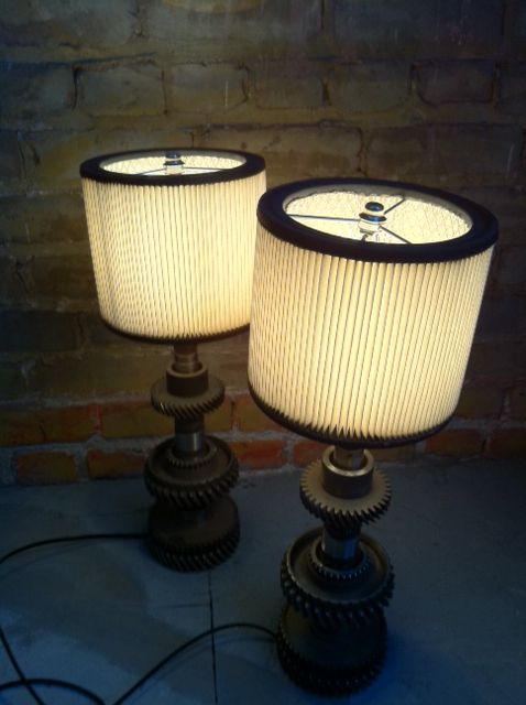 gear table lamps with air filter shades | Omega Lighting Design