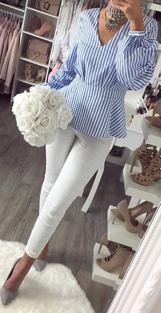 awesome outfit idea / stripped blouse + skinnies + heels
