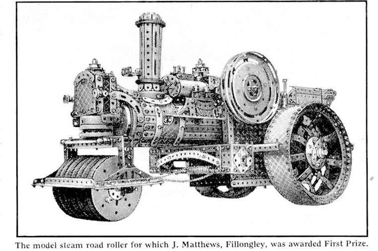 Meccano steam roller prize winning model 1939. by J. Matthews.